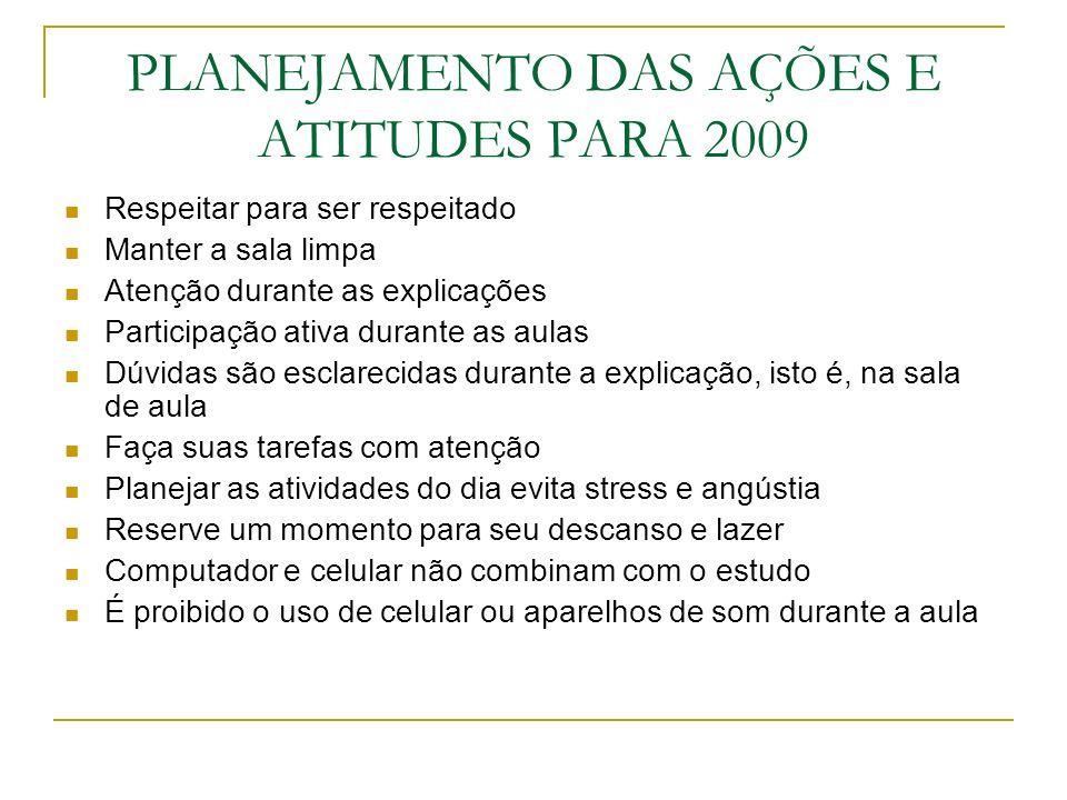 PLANEJAMENTO DAS AÇÕES E ATITUDES PARA 2009 Respeitar para ser respeitado Manter a sala limpa Atenção durante as explicações Participação ativa durant
