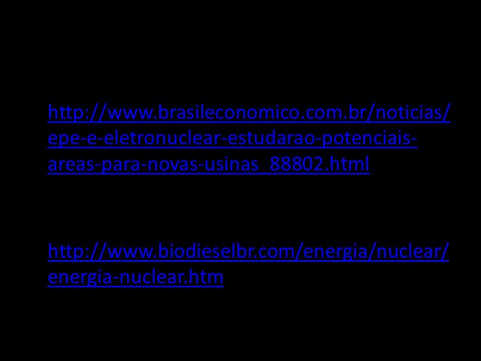 BIBLIOGRAFIA http://www.brasileconomico.com.br/noticias/ epe-e-eletronuclear-estudarao-potenciais- areas-para-novas-usinas_88802.html http://www.biodi