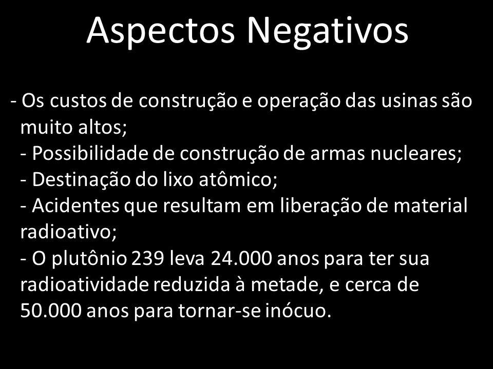 Aspectos Negativos - Os custos de construção e operação das usinas são muito altos; - Possibilidade de construção de armas nucleares; - Destinação do