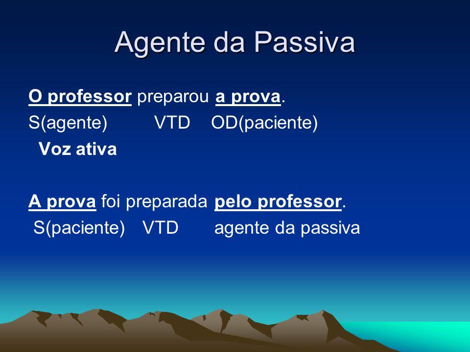 Agente da Passiva O professor preparou a prova. S(agente) VTD OD(paciente) Voz ativa A prova foi preparada pelo professor. S(paciente) VTD agente da p