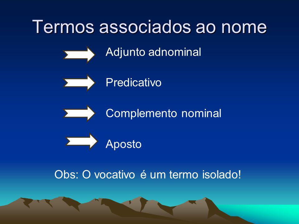 Termos associados ao nome Adjunto adnominal Predicativo Complemento nominal Aposto Obs: O vocativo é um termo isolado!