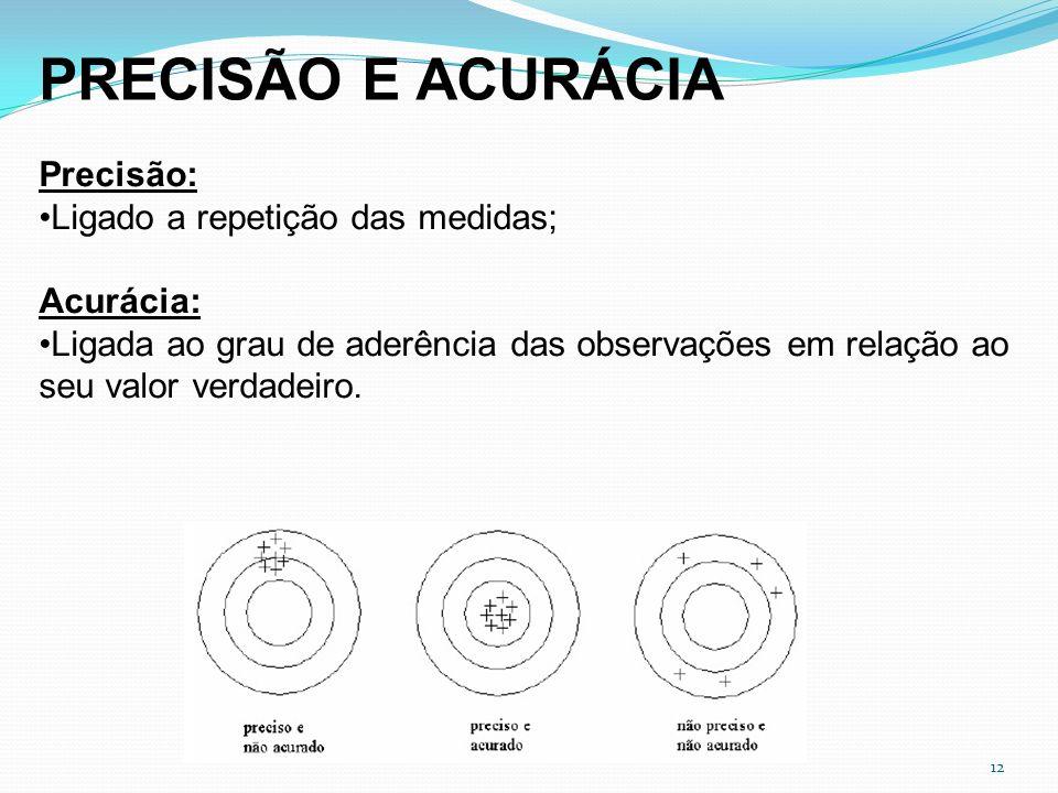 12 PRECISÃO E ACURÁCIA Precisão: Ligado a repetição das medidas; Acurácia: Ligada ao grau de aderência das observações em relação ao seu valor verdade