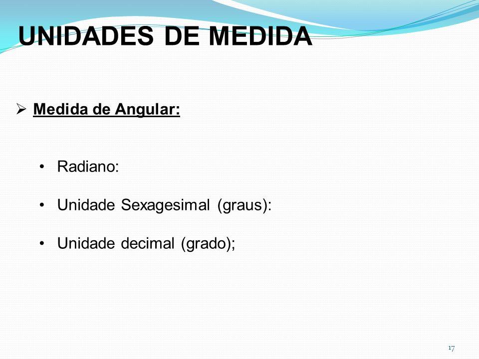 17 UNIDADES DE MEDIDA Medida de Angular: Radiano: Unidade Sexagesimal (graus): Unidade decimal (grado);