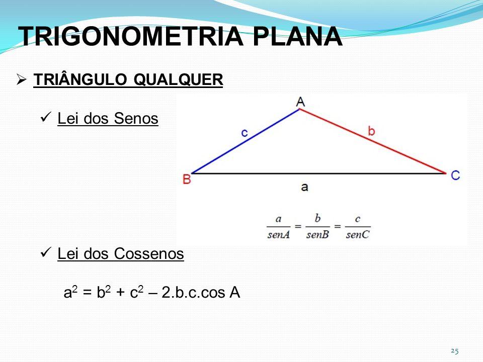 25 TRIGONOMETRIA PLANA TRIÂNGULO QUALQUER Lei dos Senos Lei dos Cossenos a 2 = b 2 + c 2 – 2.b.c.cos A