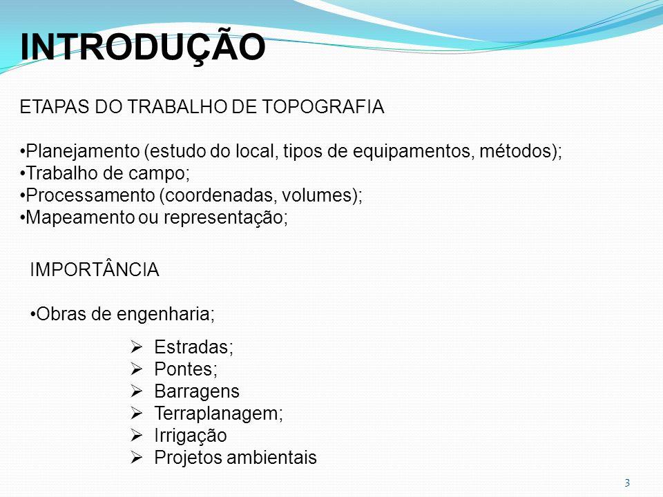 3 INTRODUÇÃO ETAPAS DO TRABALHO DE TOPOGRAFIA Planejamento (estudo do local, tipos de equipamentos, métodos); Trabalho de campo; Processamento (coorde