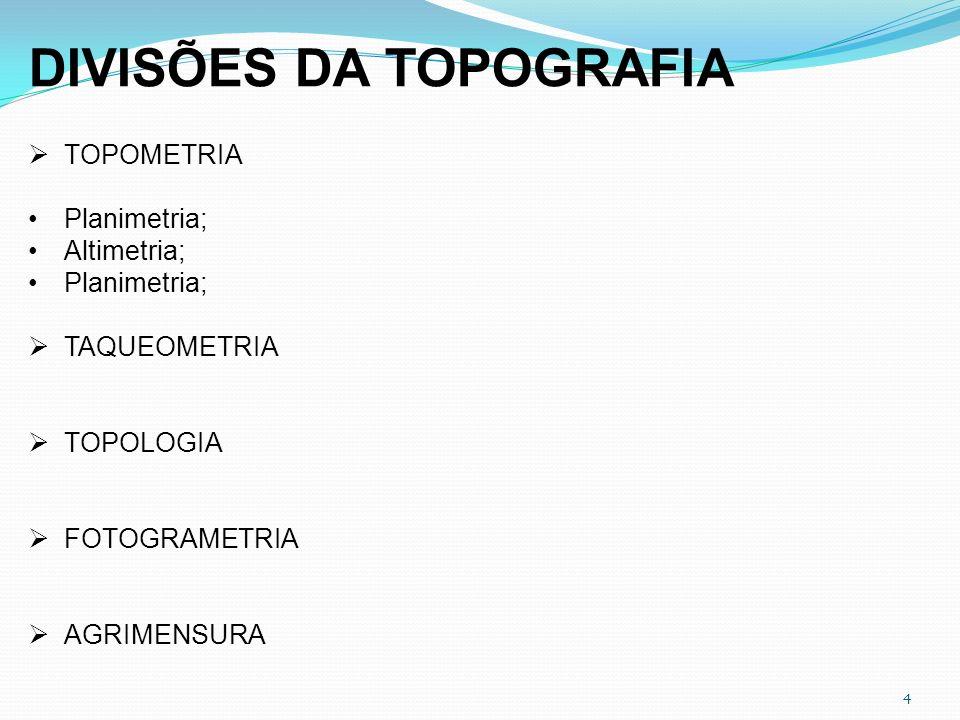4 DIVISÕES DA TOPOGRAFIA TOPOMETRIA Planimetria; Altimetria; Planimetria; TAQUEOMETRIA TOPOLOGIA FOTOGRAMETRIA AGRIMENSURA