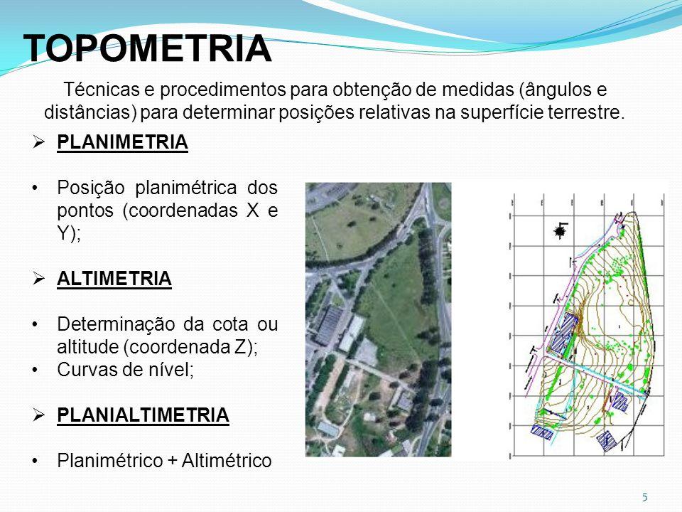 5 TOPOMETRIA Técnicas e procedimentos para obtenção de medidas (ângulos e distâncias) para determinar posições relativas na superfície terrestre. PLAN