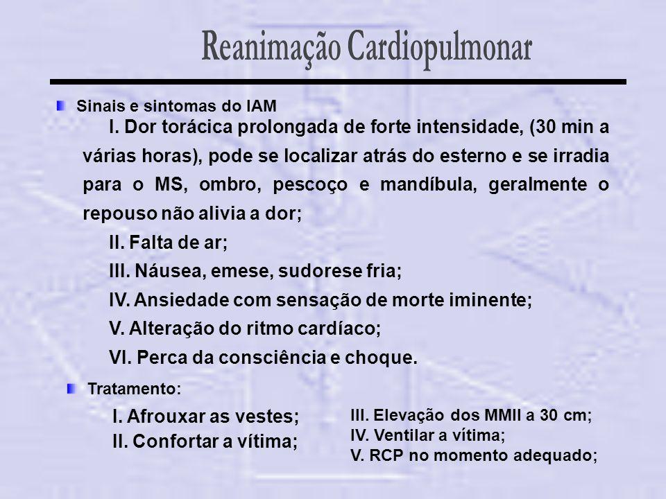 Sinais e sintomas do IAM I. Dor torácica prolongada de forte intensidade, (30 min a várias horas), pode se localizar atrás do esterno e se irradia par