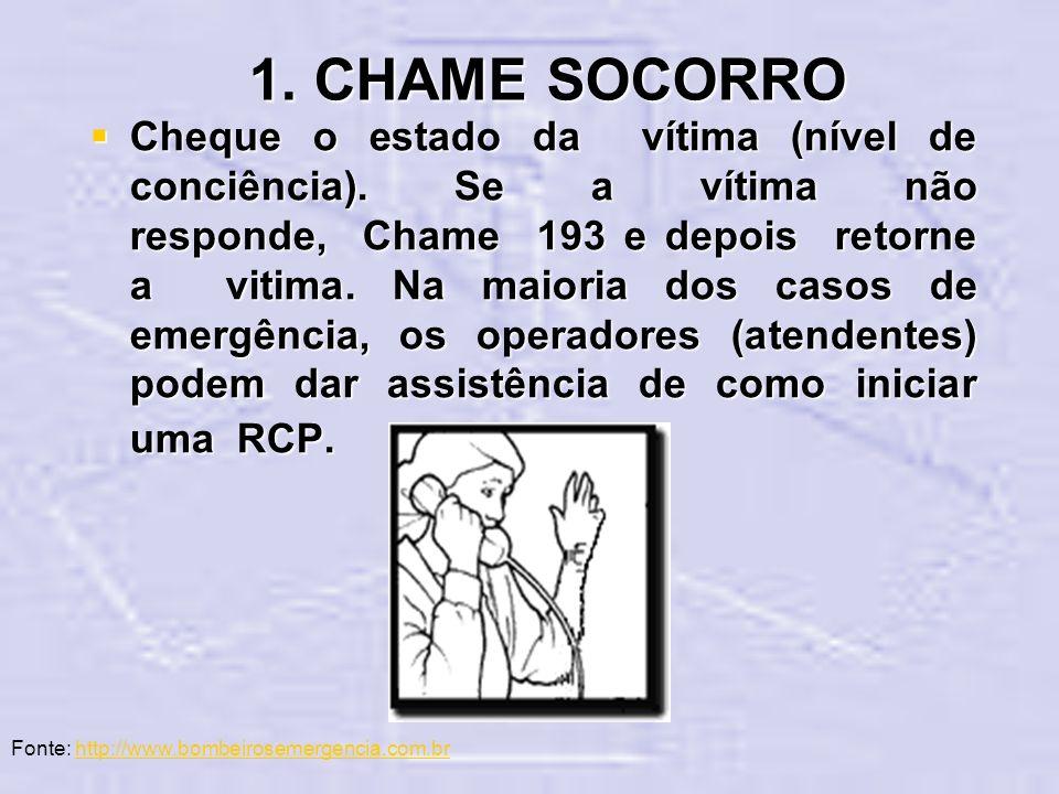 1. CHAME SOCORRO Cheque o estado da vítima (nível de conciência). Se a vítima não responde, Chame 193 e depois retorne a vitima. Na maioria dos casos