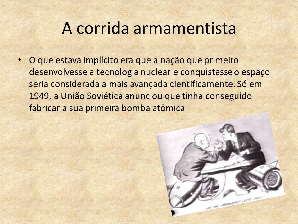 A corrida armamentista O que estava implícito era que a nação que primeiro desenvolvesse a tecnologia nuclear e conquistasse o espaço seria considerada a mais avançada cientificamente.