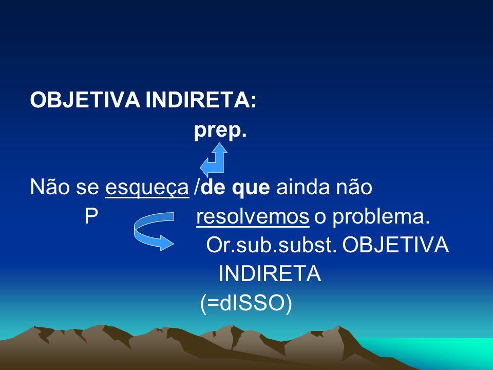 OBJETIVA INDIRETA: prep. Não se esqueça /de que ainda não P resolvemos o problema. Or.sub.subst. OBJETIVA INDIRETA (=dISSO)