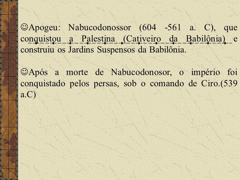Apogeu: Nabucodonossor (604 -561 a. C), que conquistou a Palestina (Cativeiro da Babilônia) e construiu os Jardins Suspensos da Babilônia. Após a mort