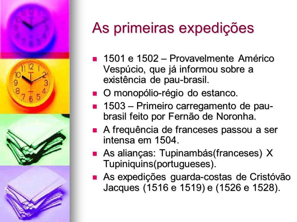 As primeiras expedições 1501 e 1502 – Provavelmente Américo Vespúcio, que já informou sobre a existência de pau-brasil. 1501 e 1502 – Provavelmente Am