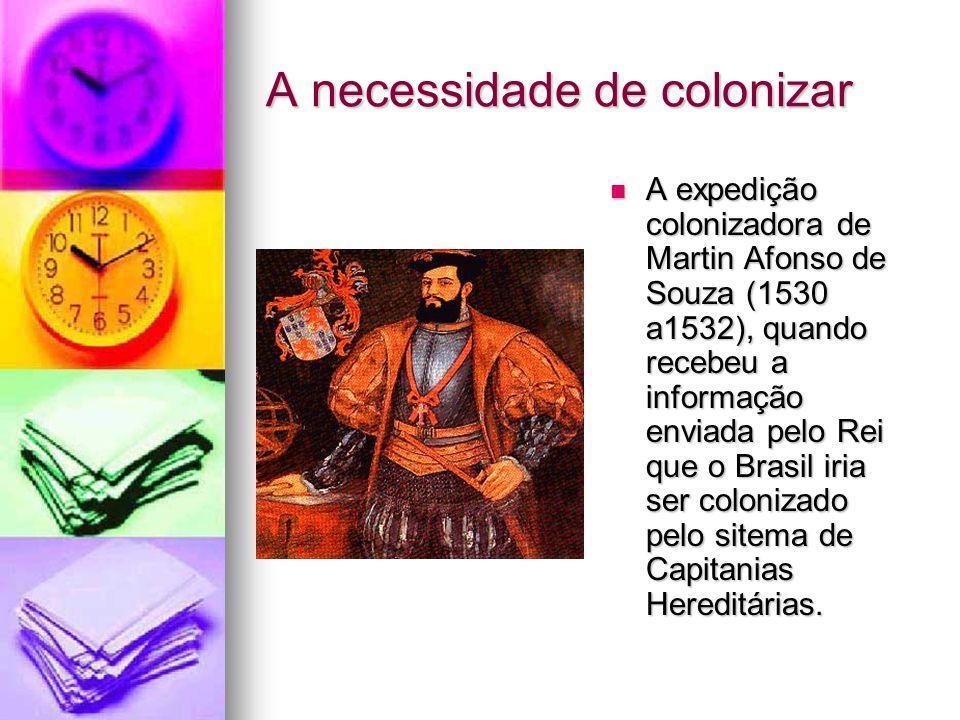 A necessidade de colonizar A expedição colonizadora de Martin Afonso de Souza (1530 a1532), quando recebeu a informação enviada pelo Rei que o Brasil
