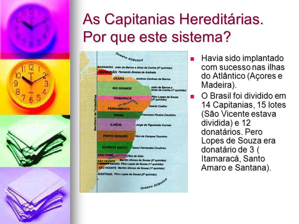 As Capitanias Hereditárias. Por que este sistema? Havia sido implantado com sucesso nas ilhas do Atlântico (Açores e Madeira). Havia sido implantado c