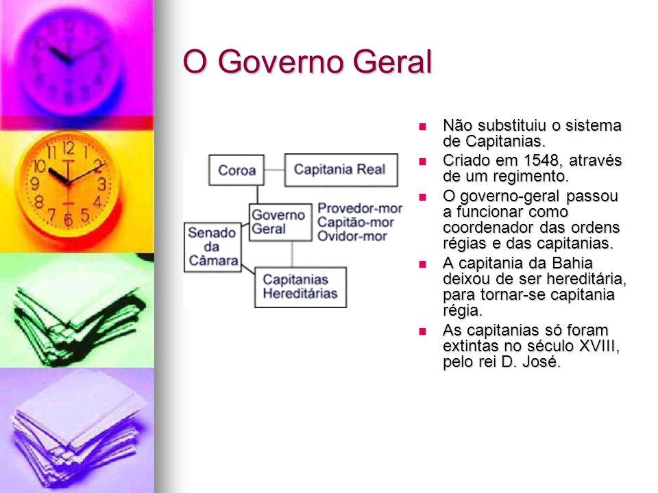 O Governo Geral Não substituiu o sistema de Capitanias. Não substituiu o sistema de Capitanias. Criado em 1548, através de um regimento. Criado em 154