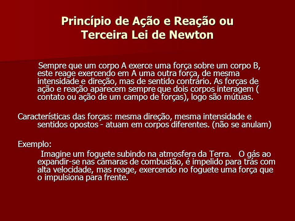 Princípio de Ação e Reação ou Terceira Lei de Newton Sempre que um corpo A exerce uma força sobre um corpo B, este reage exercendo em A uma outra forç