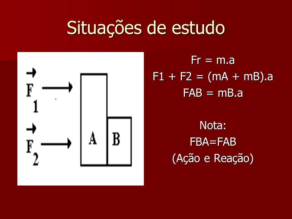 Situações de estudo Fr = m.a F1 + F2 = (mA + mB).a FAB = mB.a Nota:FBA=FAB (Ação e Reação)
