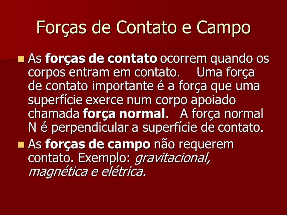 Forças de Contato e Campo As forças de contato ocorrem quando os corpos entram em contato. Uma força de contato importante é a força que uma superfíci