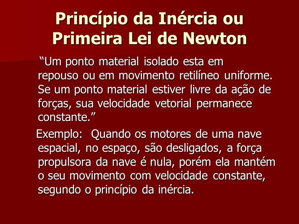 Princípio da Inércia ou Primeira Lei de Newton Um ponto material isolado esta em repouso ou em movimento retilíneo uniforme. Se um ponto material esti