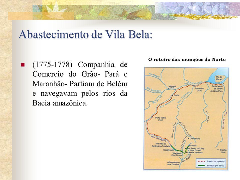 Abastecimento de Vila Bela: (1775-1778) Companhia de Comercio do Grão- Pará e Maranhão- Partiam de Belém e navegavam pelos rios da Bacia amazônica. O
