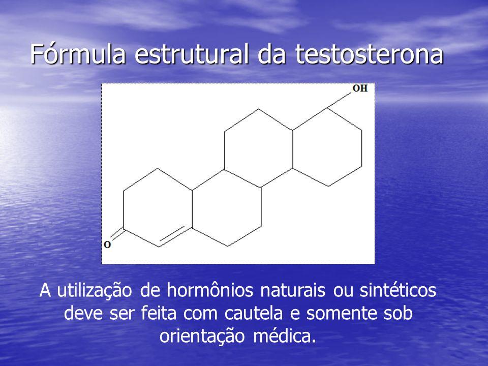 Fórmula estrutural da testosterona A utilização de hormônios naturais ou sintéticos deve ser feita com cautela e somente sob orientação médica.