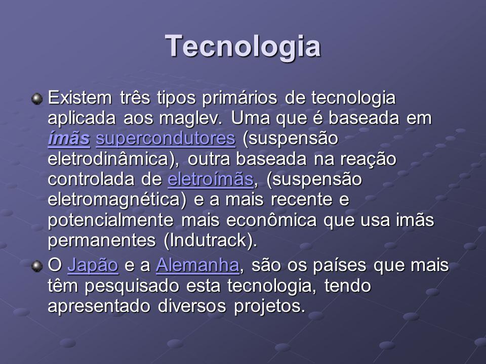 Tecnologia Existem três tipos primários de tecnologia aplicada aos maglev. Uma que é baseada em ímãs supercondutores (suspensão eletrodinâmica), outra