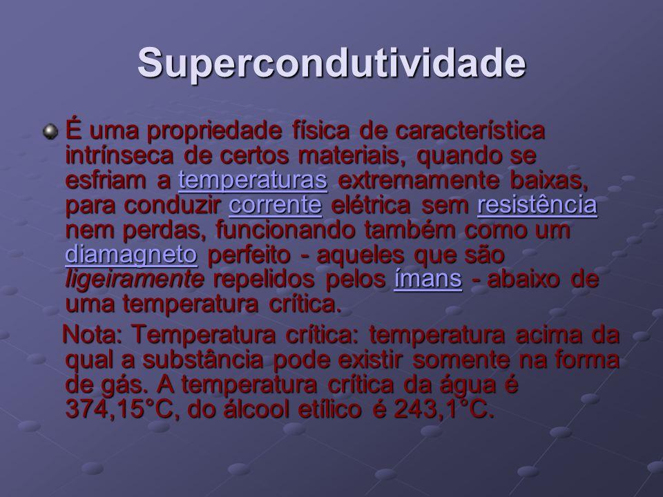 Supercondutividade É uma propriedade física de característica intrínseca de certos materiais, quando se esfriam a temperaturas extremamente baixas, pa