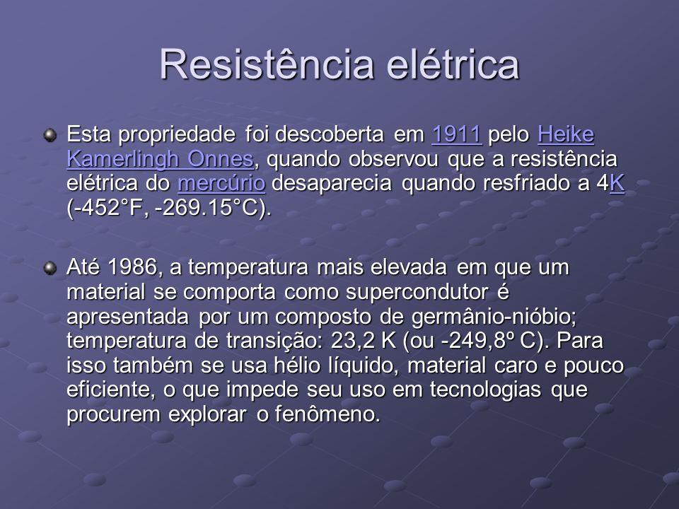 Resistência elétrica Esta propriedade foi descoberta em 1911 pelo Heike Kamerlingh Onnes, quando observou que a resistência elétrica do mercúrio desap