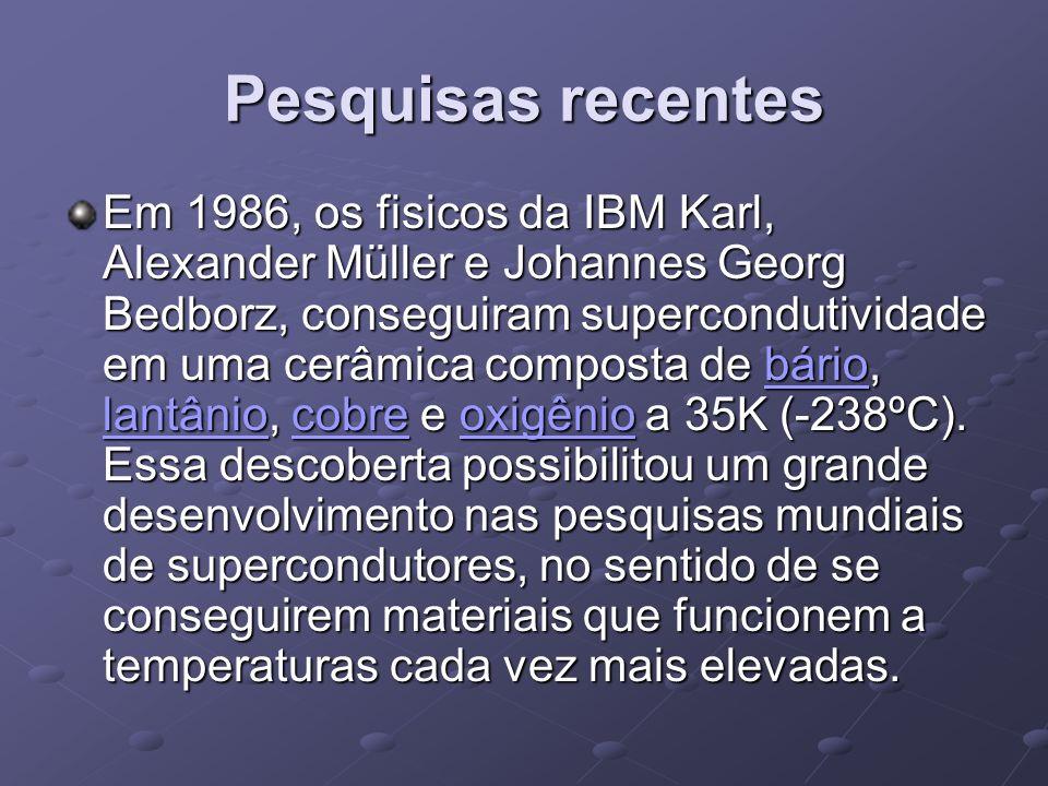 Pesquisas recentes Em 1986, os fisicos da IBM Karl, Alexander Müller e Johannes Georg Bedborz, conseguiram supercondutividade em uma cerâmica composta