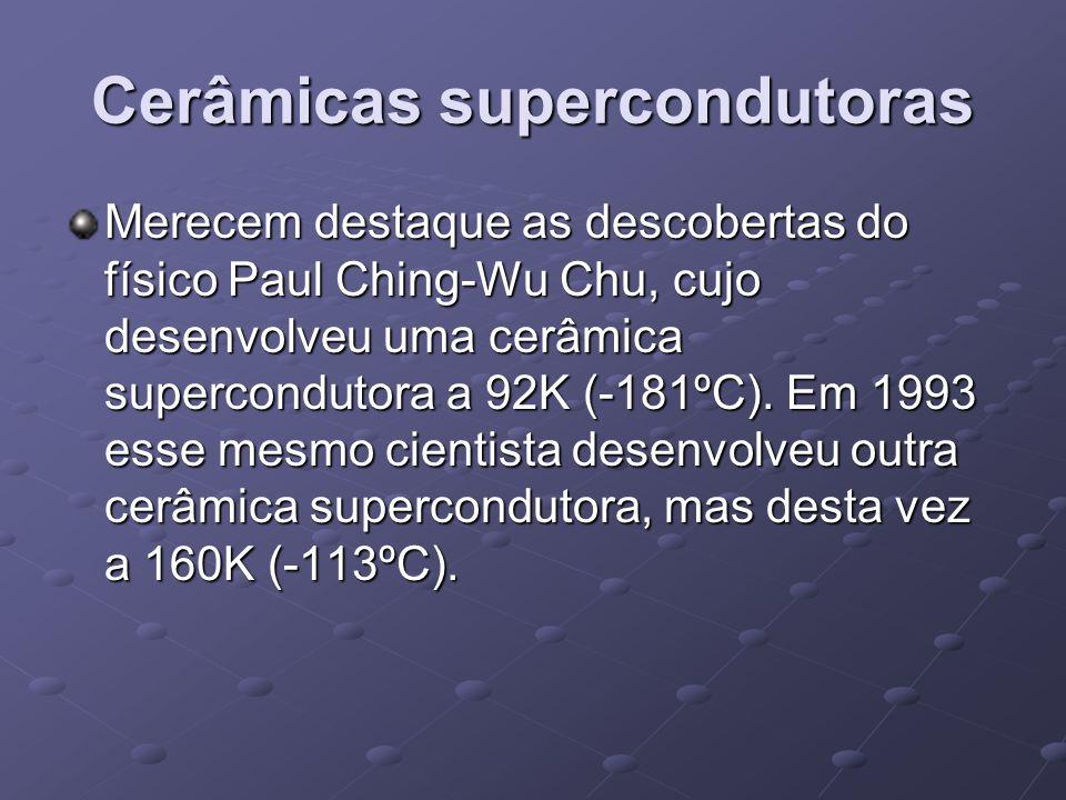 Cerâmicas supercondutoras Merecem destaque as descobertas do físico Paul Ching-Wu Chu, cujo desenvolveu uma cerâmica supercondutora a 92K (-181ºC). Em