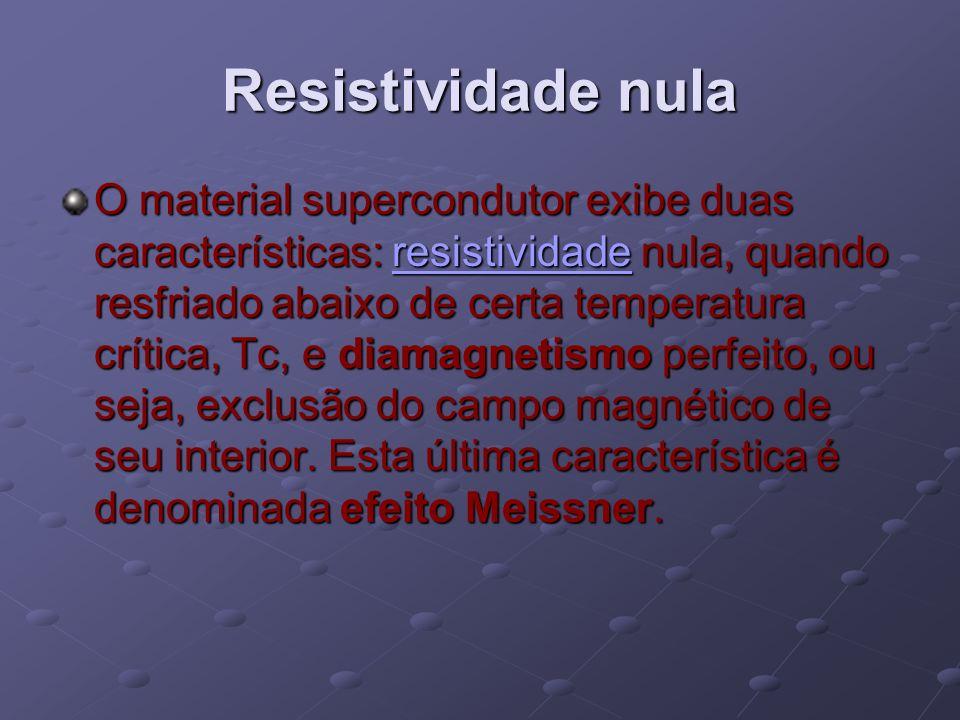 Resistividade nula O material supercondutor exibe duas características: resistividade nula, quando resfriado abaixo de certa temperatura crítica, Tc,