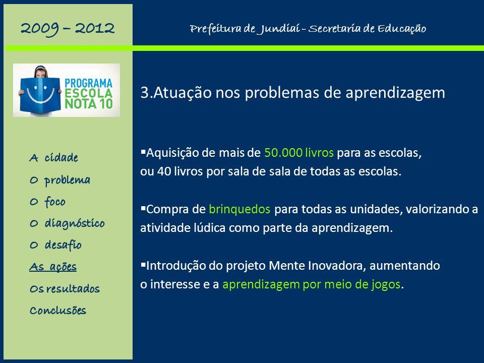 3.Atuação nos problemas de aprendizagem Mapeamento das escolas da rede segundo seus índices. Concentração de esforços na alfabetização: um auxiliar de