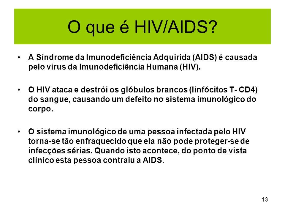 13 O que é HIV/AIDS? A Síndrome da Imunodeficiência Adquirida (AIDS) é causada pelo vírus da Imunodeficiência Humana (HIV). O HIV ataca e destrói os g