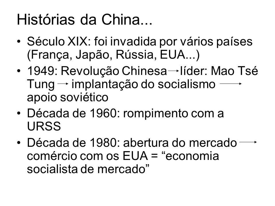 Século XIX: foi invadida por vários países (França, Japão, Rússia, EUA...) 1949: Revolução Chinesa líder: Mao Tsé Tung implantação do socialismo apoio