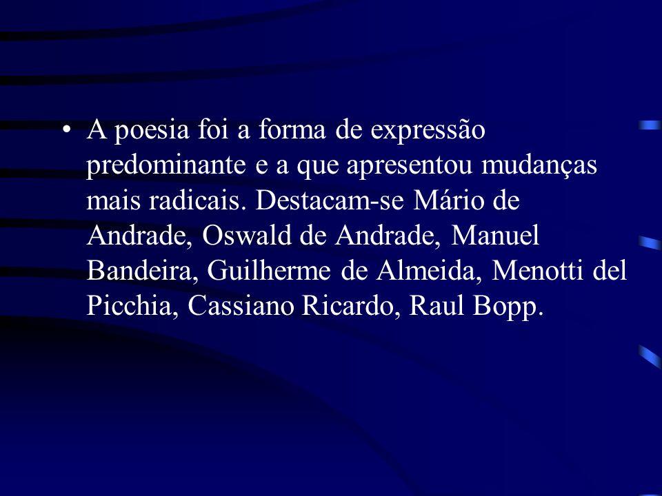 A poesia foi a forma de expressão predominante e a que apresentou mudanças mais radicais. Destacam-se Mário de Andrade, Oswald de Andrade, Manuel Band
