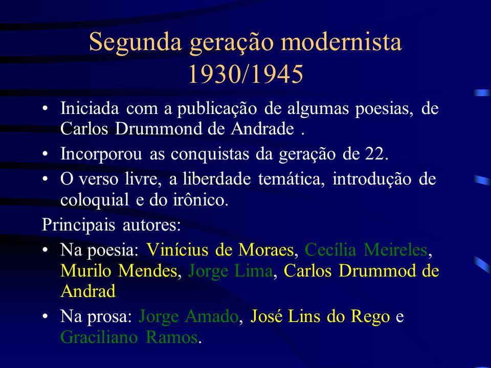 Segunda geração modernista 1930/1945 Iniciada com a publicação de algumas poesias, de Carlos Drummond de Andrade. Incorporou as conquistas da geração
