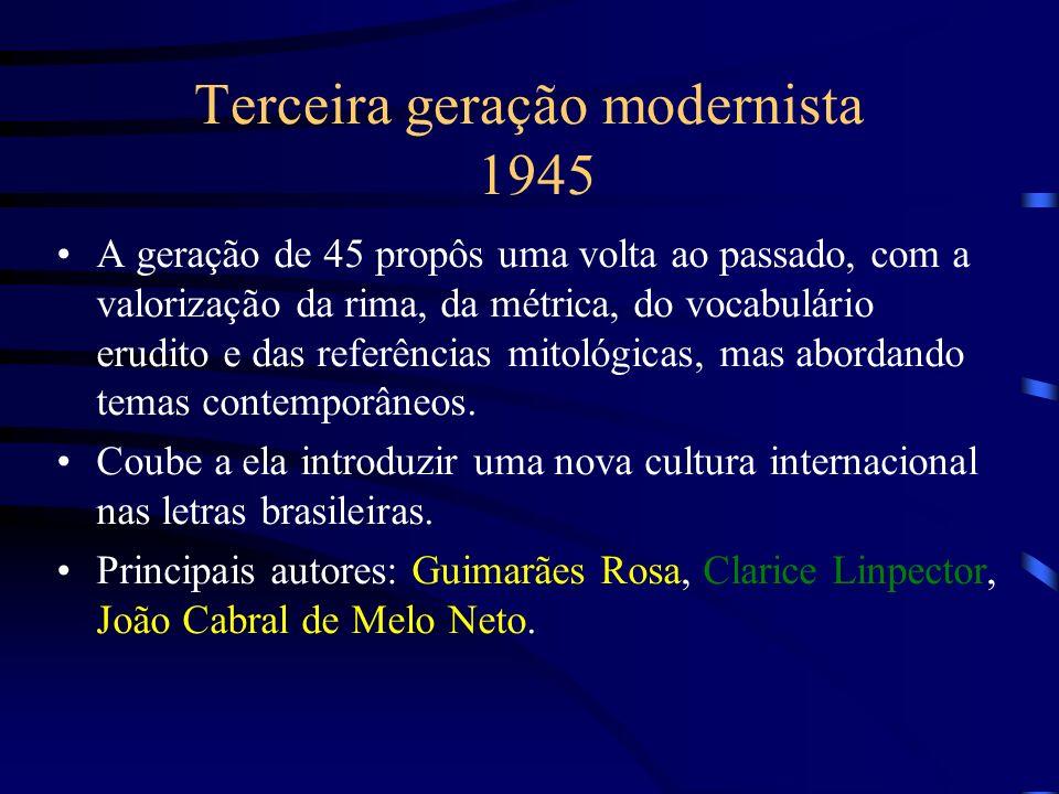 Terceira geração modernista 1945 A geração de 45 propôs uma volta ao passado, com a valorização da rima, da métrica, do vocabulário erudito e das refe