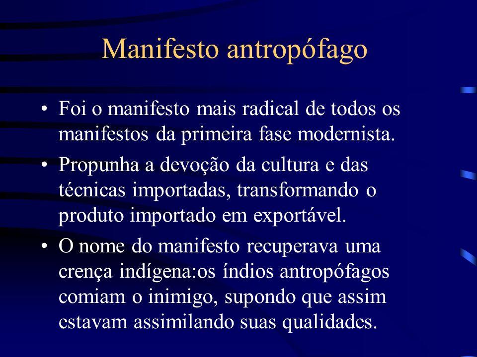 Manifesto antropófago Foi o manifesto mais radical de todos os manifestos da primeira fase modernista. Propunha a devoção da cultura e das técnicas im