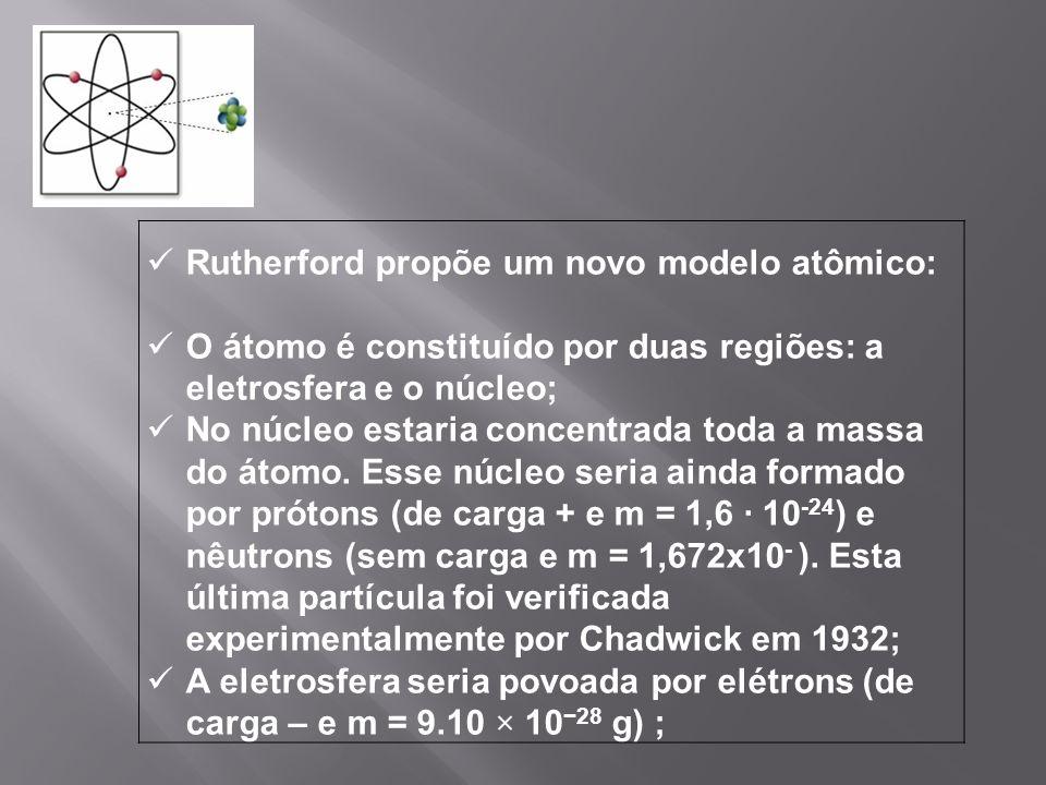 Rutherford propõe um novo modelo atômico: O átomo é constituído por duas regiões: a eletrosfera e o núcleo; No núcleo estaria concentrada toda a massa