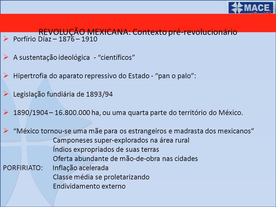 REVOLUÇÃO MEXICANA: Contexto pré-revolucionário Porfírio Díaz – 1876 – 1910 A sustentação ideológica - científicos Hipertrofia do aparato repressivo d