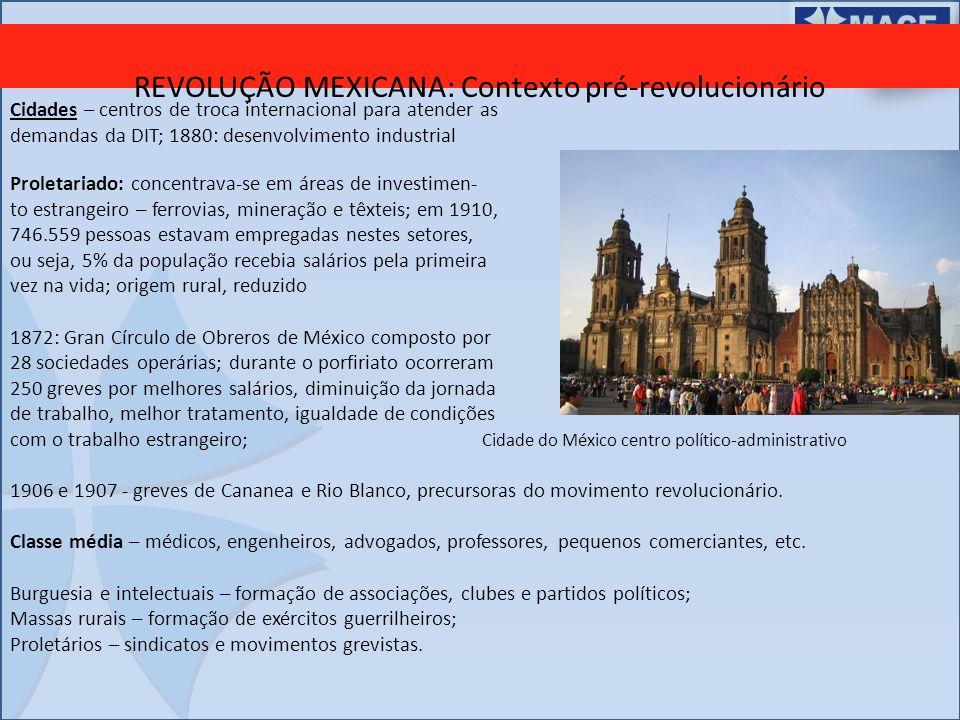 REVOLUÇÃO MEXICANA: Contexto pré-revolucionário Cidades – centros de troca internacional para atender as demandas da DIT; 1880: desenvolvimento indust