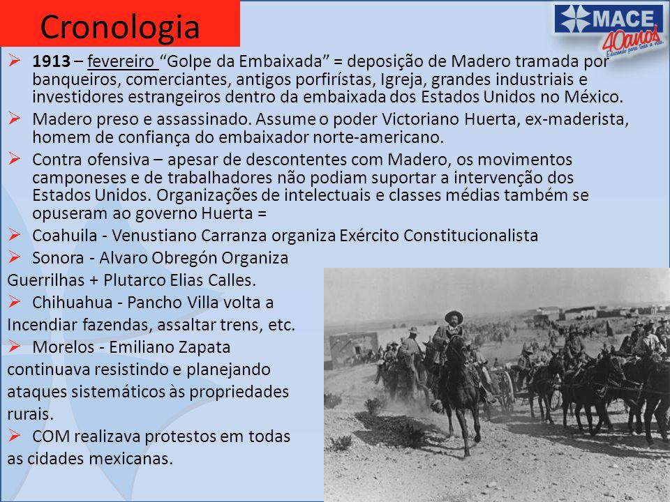 Cronologia 1913 – fevereiro Golpe da Embaixada = deposição de Madero tramada por banqueiros, comerciantes, antigos porfirístas, Igreja, grandes indust