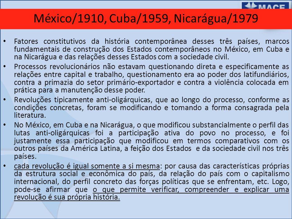 México/1910, Cuba/1959, Nicarágua/1979 Fatores constitutivos da história contemporânea desses três países, marcos fundamentais de construção dos Estad