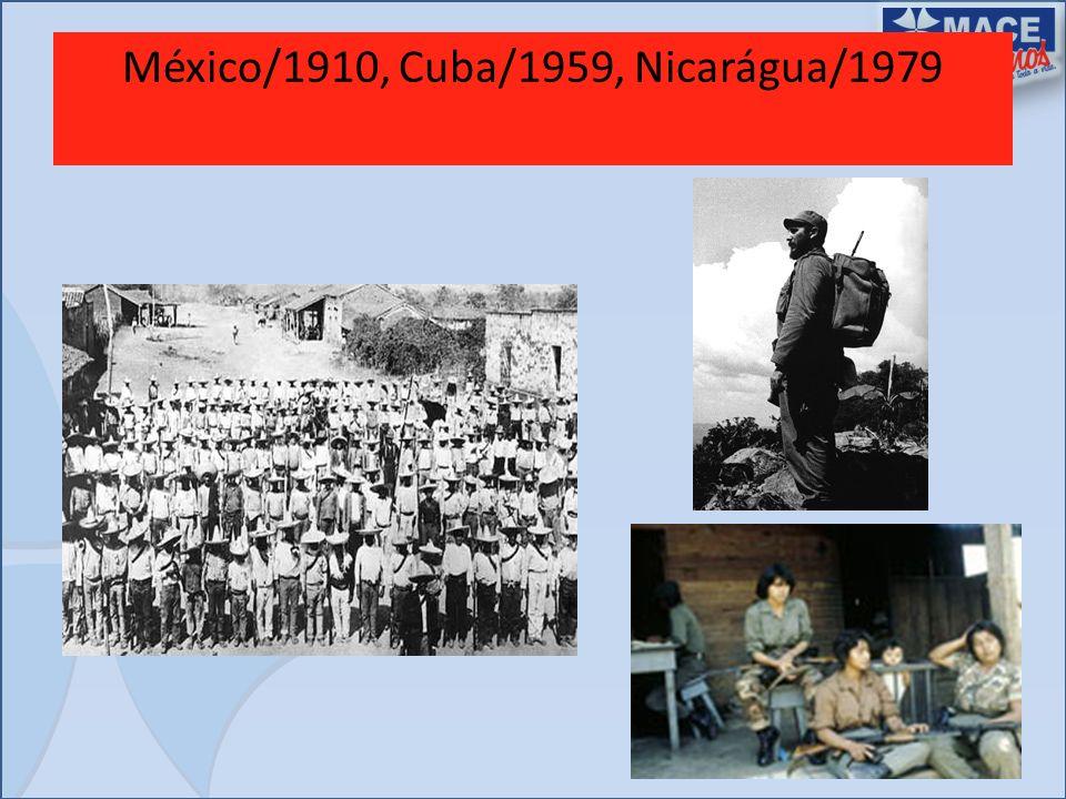 México/1910, Cuba/1959, Nicarágua/1979