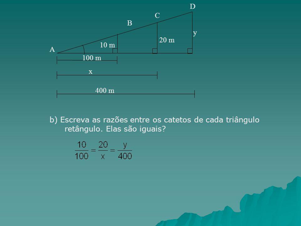 y 100 m 10 m 20 m x 400 m A B C D b) Escreva as razões entre os catetos de cada triângulo retângulo. Elas são iguais?