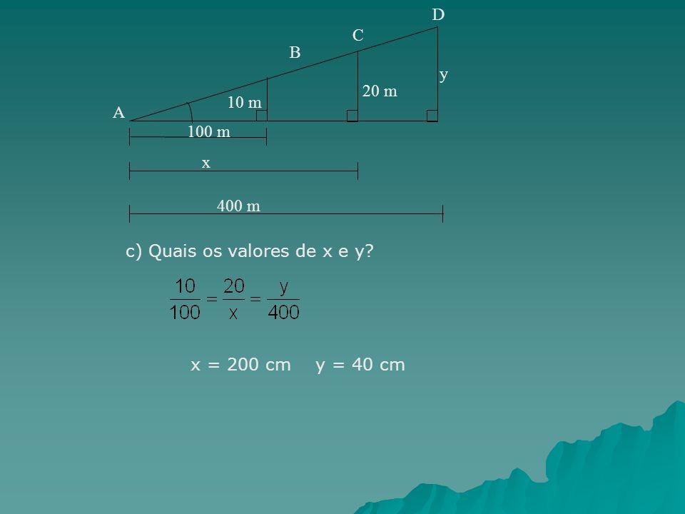 y 100 m 10 m 20 m x 400 m A B C D c) Quais os valores de x e y? x = 200 cm y = 40 cm