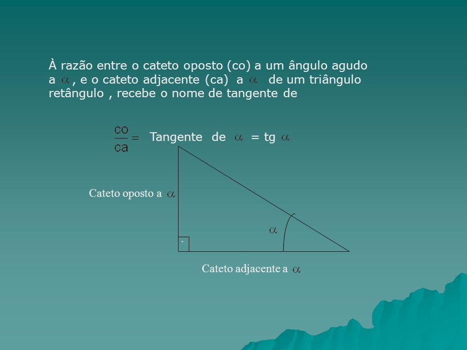 À razão entre o cateto oposto (co) a um ângulo agudo a, e o cateto adjacente (ca) a de um triângulo retângulo, recebe o nome de tangente de Tangente d