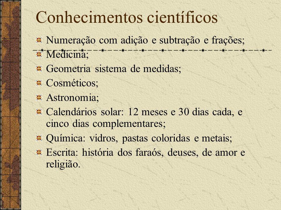 Conhecimentos científicos Numeração com adição e subtração e frações; Medicina; Geometria sistema de medidas; Cosméticos; Astronomia; Calendários sola