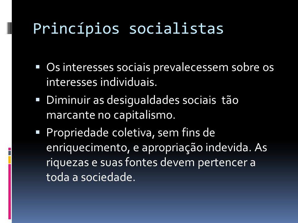 Princípios socialistas Os interesses sociais prevalecessem sobre os interesses individuais. Diminuir as desigualdades sociais tão marcante no capitali